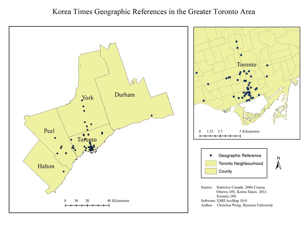 Map of Korea Times Geographic References in the Greater Toronto Area