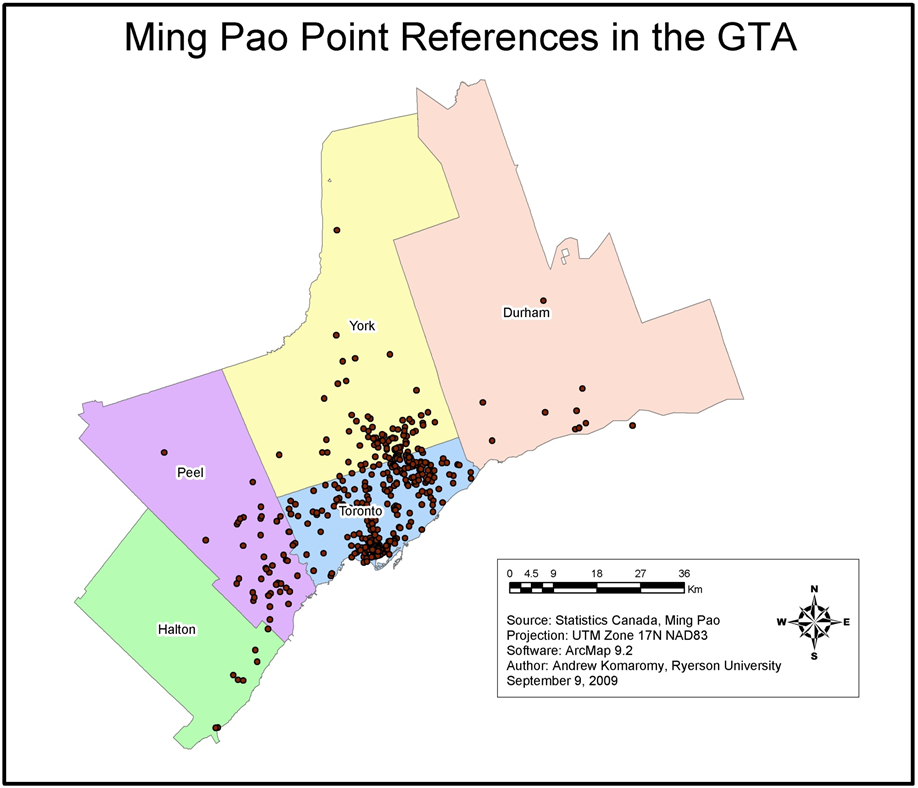 Map of Ming Pao Point Geographic References in the Greater Toronto Area