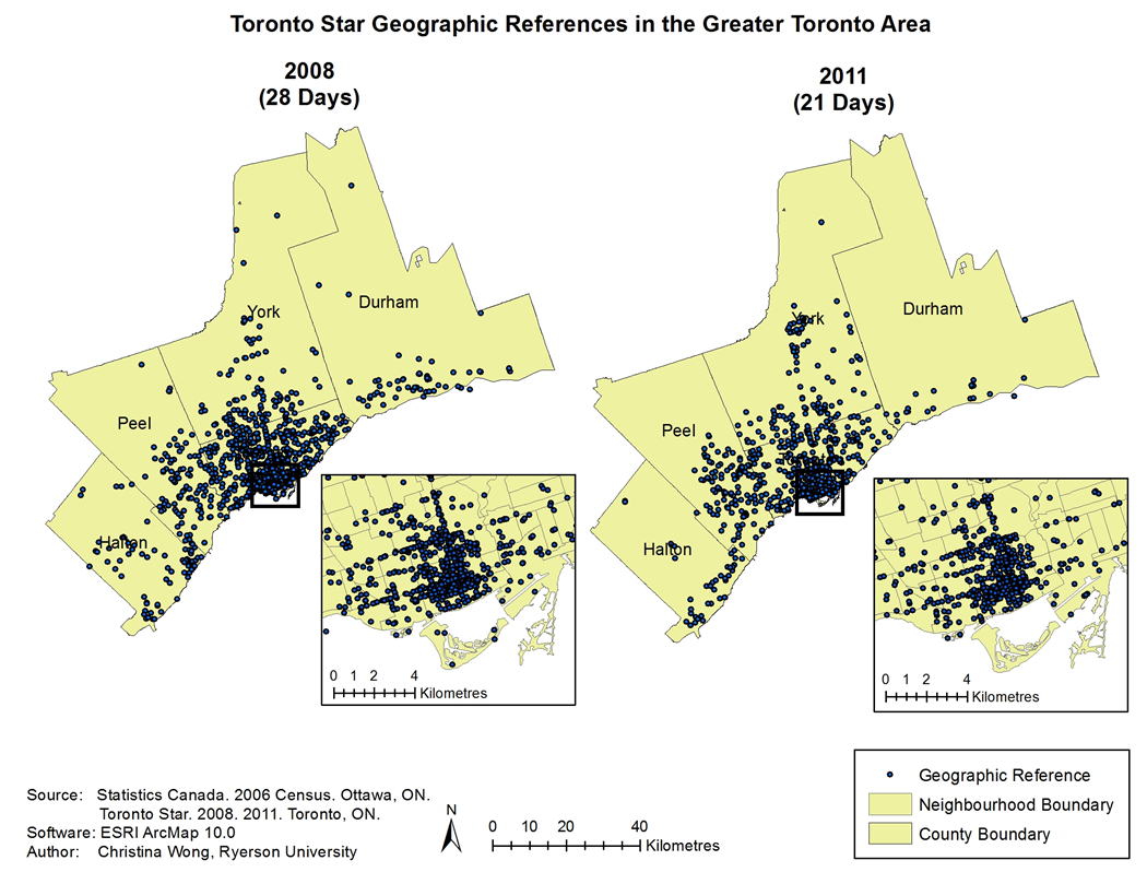 Maps of Toronto Star Geographic references in the GTA in 2008 and 2011