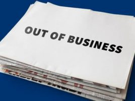 A paper that says out of business